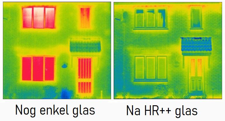 enkel glas, hr++ glas, dubbelglas scan, warmte scan enkelglas en dubbelglas, isolatie met glas, energiebesparing met glas, van enkel naar dubbel glasisolatie,